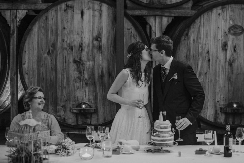 Novios, tarta de boda
