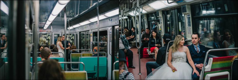 Postboda en París, paseo en el metro
